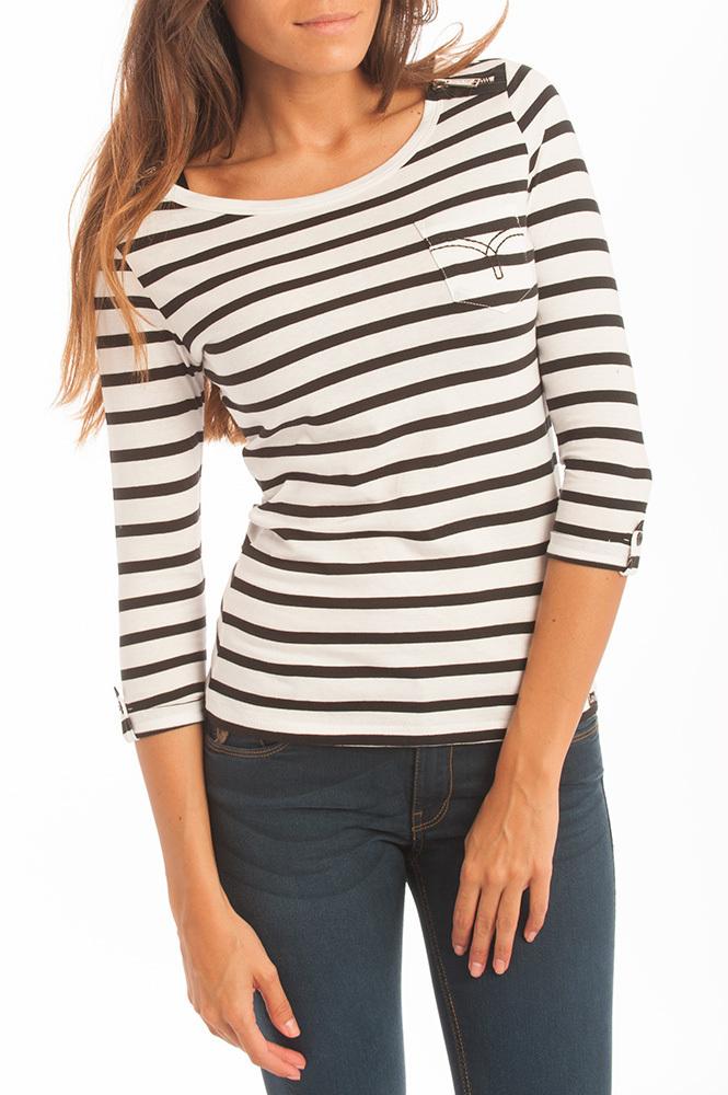 Mujer LoisManga Calipso Camiseta Rayas Doromit Larga OXZTkiPu