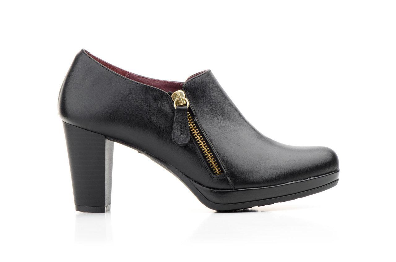 08896f37c37 Zapatos Abotinados Mujer Piel Negro Plataforma Cremallera Tacón ...