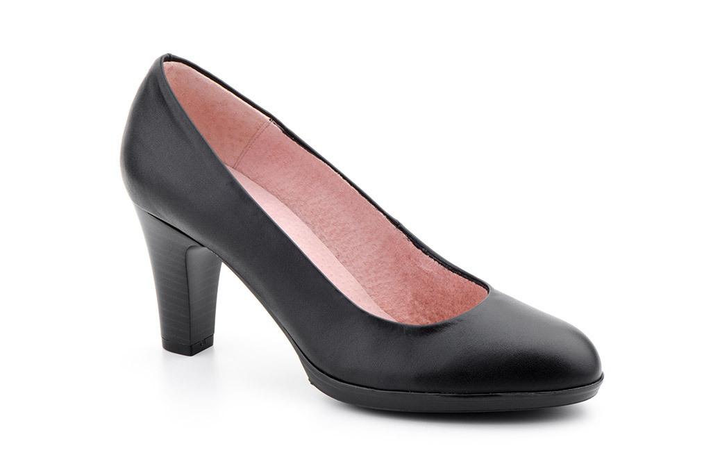 7153fca72cf3 Zapatos Mujer Piel Negro Tacón Salón Plataforma