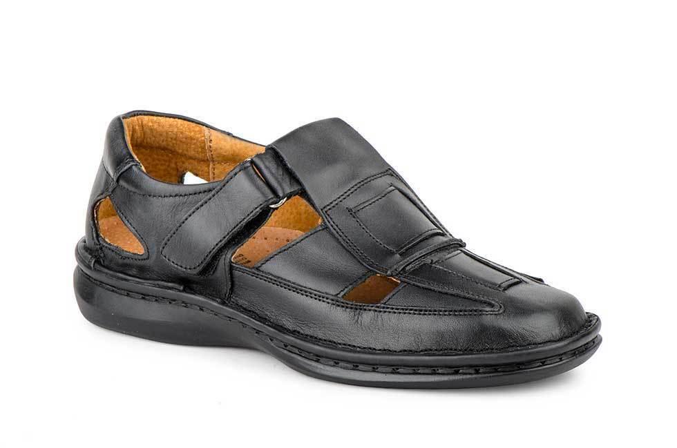 Piel Cosida Negro Suela 47 Xxl Velcro Zapatos 49 Hombre RwO5qEF
