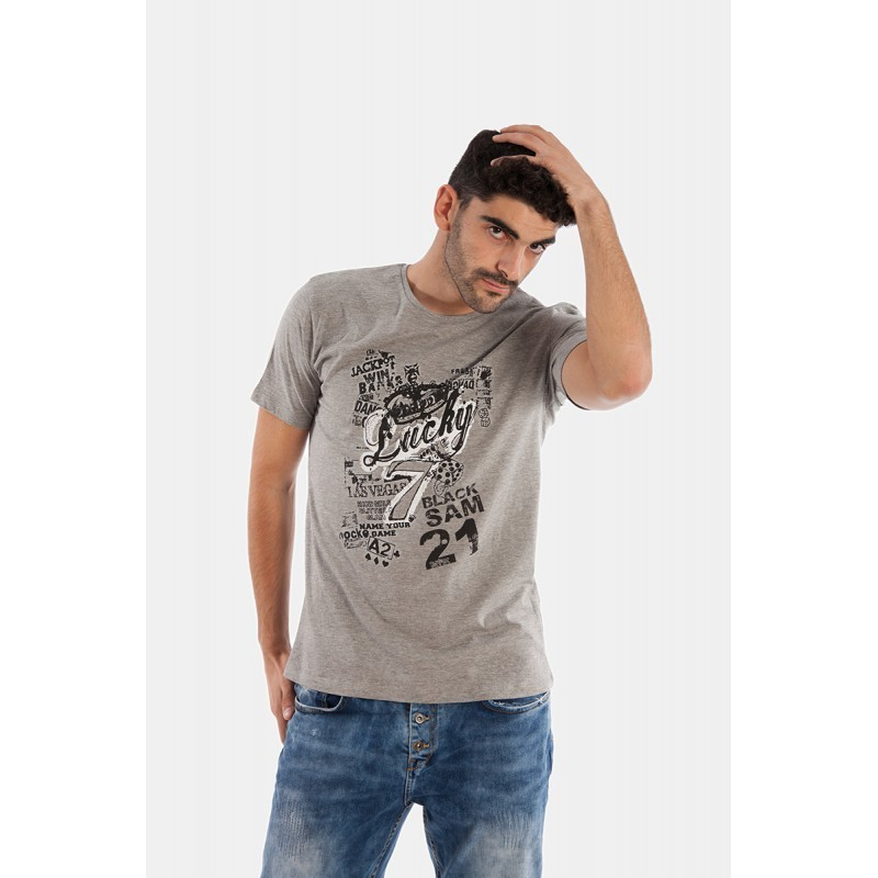 26064a06 Camiseta Manga Corta | Hombre | Black Sam 21 | Lucky Seven gris