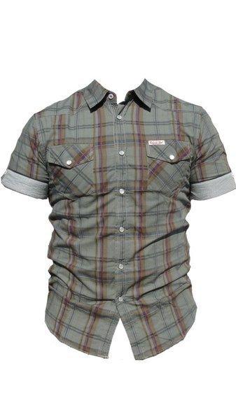 Caroche camisa manga corta cuadros hombre 01C 3004127 gris talla XL ... a3bd09873e2e0
