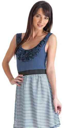 Stix Casual Dress Lo51218 Blue Blanco