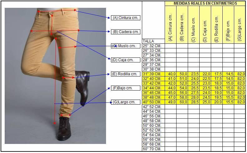 * Las medidas de la guía de tallas están basadas en medidas tomadas directamente sobre el cuerpo, no sobre la prenda. En caso de tener una medida entre dos .
