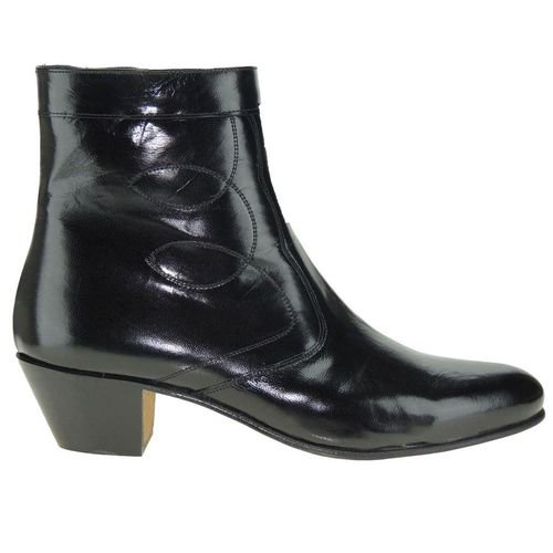 Stiefeletten Man Black Leather Zipper Cuban Heel Ledersohle