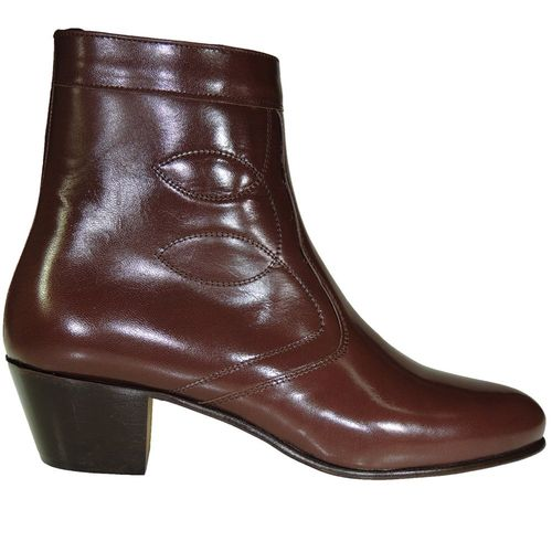 Stiefeletten Man Leather Mahogany Zipper Cuban Heel Ledersohle
