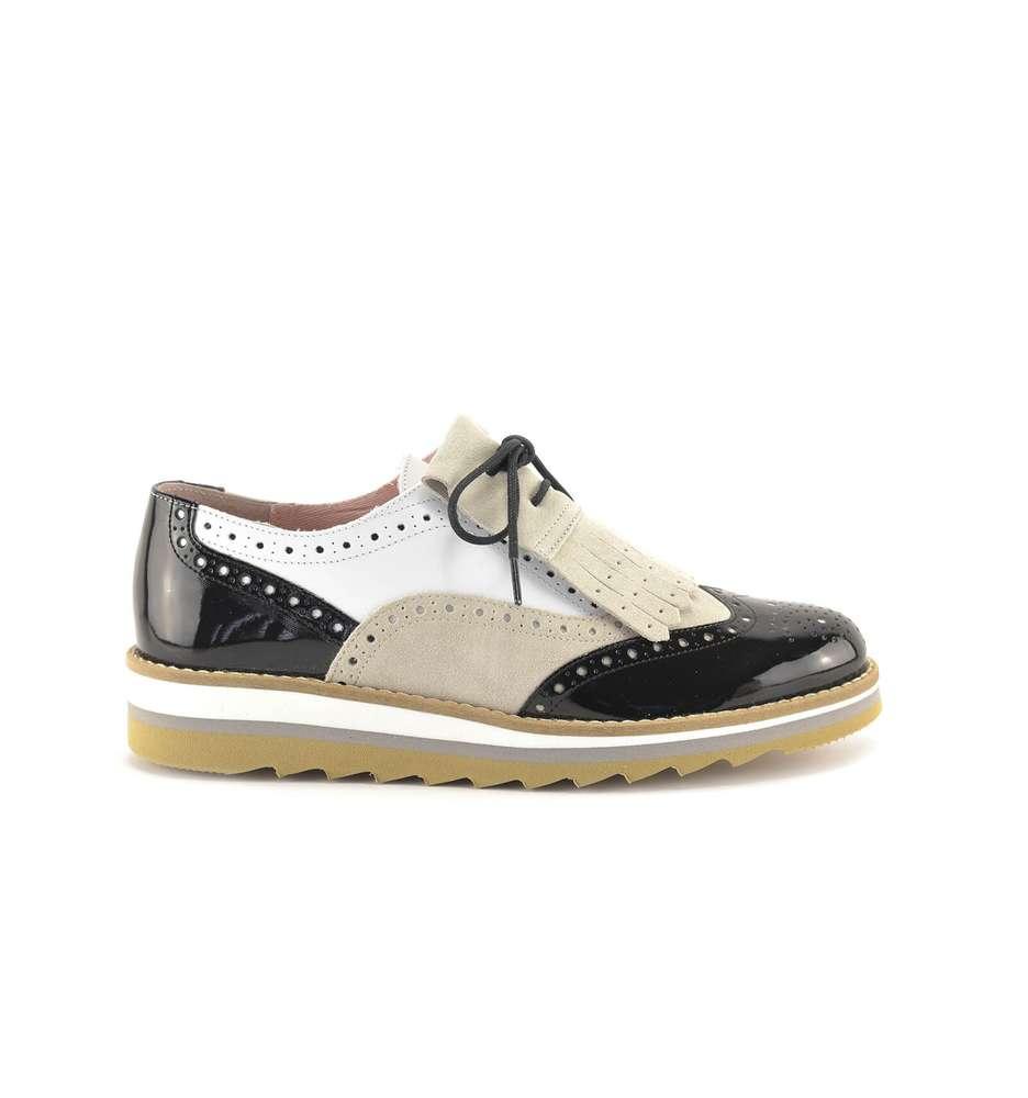 bicolor Negro Oxford Zapatos Piel Myltho Mocasines Mujer X1xTUwgTn