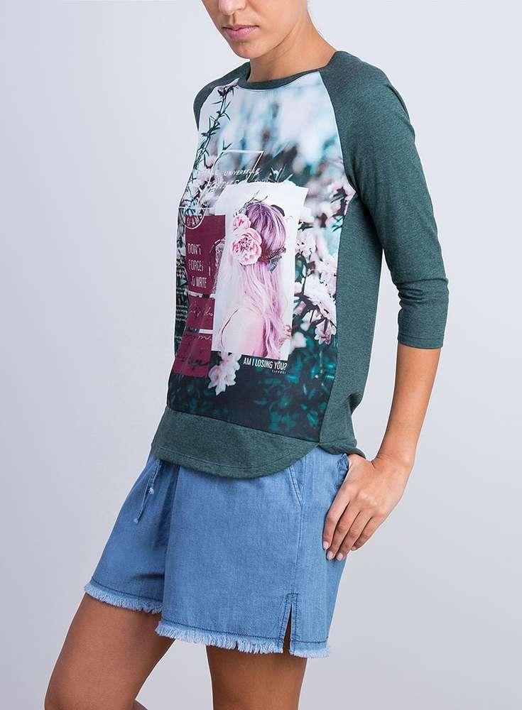 Estampada 854 Larga 10015231 Camiseta Manga MujerTiffosi qMpGSUVz