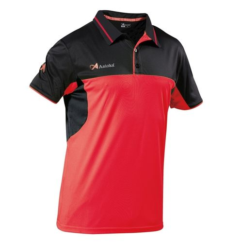 Asioka | Women's short-sleeved polo shirt | Ref. 109/19 red / black