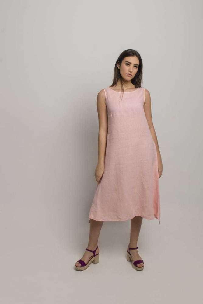 Vestido Mujer Lino Rosa Palo S790 M436 Bestshoppinges