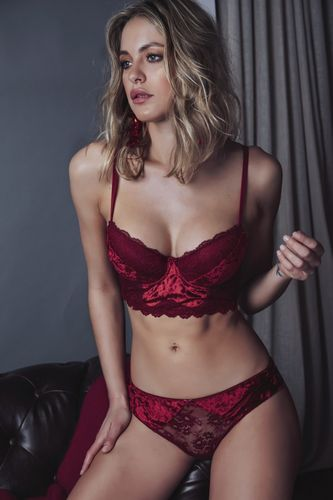 Women's interior set | Push Up Bustier and Carioca Panties | Red