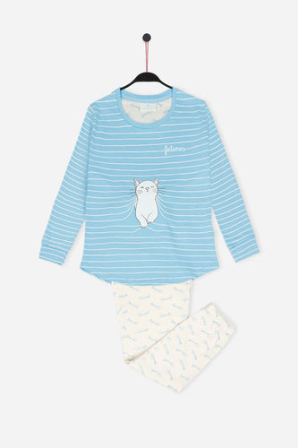 Girls Santoro Felines Pajamas | Felines Purffect Place 54438-0 | blue