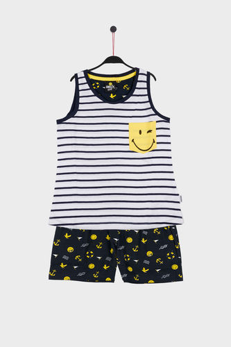 Girl Pajamas | SMILEY Yellow Navy 54724-0 | White