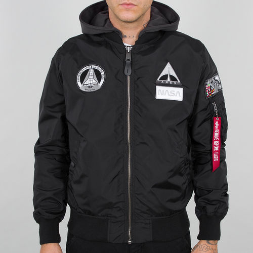 Alpha Industries Flight Jacket | MA-1 TT Hood NASA | 03 svart