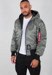 Jaqueta de vol Alpha Industries | Hooded Puffer FD Rev. | 432 verd vintage