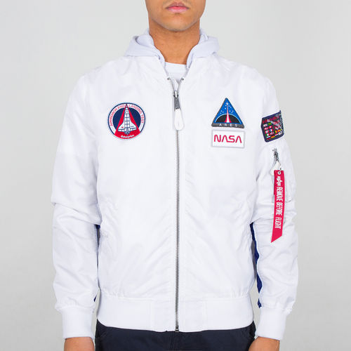 Alpha Industries Flight Jacket | MA-1 TT Hood NASA | 09 hvit