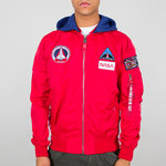 Alpha Industries Flight Jacket | MA-1 TT Hood NASA | 328 speed red