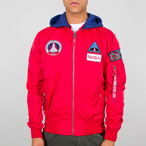 Alpha Industries Flight Jacket | MA-1 TT Hood NASA | 328 hastighet rød