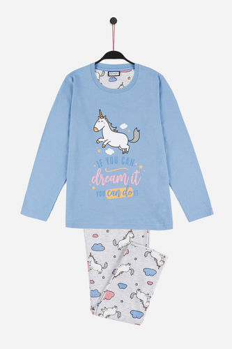 M Wonderful | Summer girl pajamas | Long Sleeve Unicorn | 55739-0
